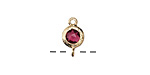 Cranberry Crystal in Gold (plated) Textured Bezel Link 7x12mm