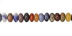 Multi Gemstone (Red Jasper, Sodalite, Pyrite, Amazonite, Aventurine) Rondelle 6mm