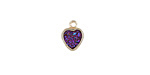 Metallic Solar Crystal Druzy Heart Charm in Gold Finish Bezel 8x10mm