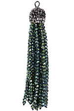 Iris Green Crystal Tassel w/ Hematite & Clear Crystal Pave Cap 75mm