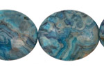 Larimar Blue Crazy Lace Flat Oval 30x25mm