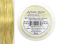 Artistic Wire Bare Yellow Brass 26 gauge, 30 yards