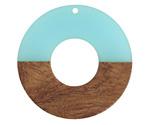 Walnut Wood & Sea Green Resin Donut Focal 45mm