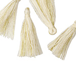 Ivory w/ Metallic Gold Thread Tassel 30mm