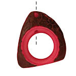 Tagua Nut Hot Pink Open Slice 33-45x24-36mm