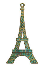 Patina Green Brass Eiffel Tower Pendant 36x70mm