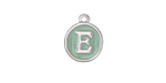 "Sweet Mint Enamel Silver Finish Initial Coin Charm ""E"" 12x14mm"