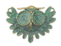 Zola Elements Patina Green Brass Vintage Owl Focal 55x40mm