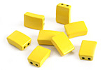 Yellow Enamel 2-Hole Tile Rectangle Bead 12x8mm