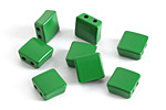 Kelly Green Enamel 2-Hole Tile Square Bead 8mm