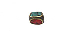 Tibetan Brass 4-Sided Bead w/ Turquoise & Coral Mosaic 10-11x8-9mm