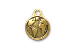 TierraCast Antique Gold (plated) Earth Pendant 16x20mm
