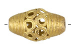 African Brass Large Rice w/ Circles 35-40x22mm
