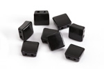 Jet Enamel 2-Hole Tile Square Bead 8mm