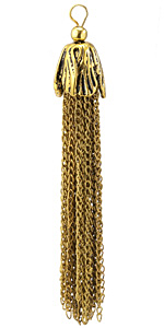 Zola Elements Antique Gold (plated) Chain Tassel w/ Flower Cap 14x100mm