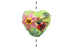 Grace Lampwork Ladybug on Spring Green Heart 19-20mm