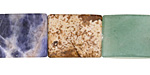 Multi Gemstone (Picture Jasper, Rose Quartz, Sodalite, Rock Crystal) Thin Pillow 18x15mm