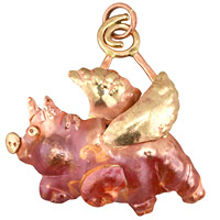 Patricia Healey Copper When Pigs Fly Pendant