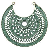 Patina Green Brass Filigree Medallion Crescent Focal 65x64mm