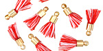 Peppermint w/ Gold (plated) Bead Cap Tiny Thread Tassel 15mm