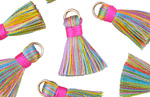 Spring Fling w/ Pink Binding & Jump Ring Thread Tassel 18mm
