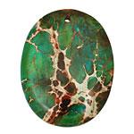 Dark Emerald Impression Jasper Oval Pendant 35x45mm