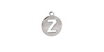 """Stainless Steel Initial Coin Charm """"Z"""" 10x12mm"""