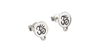 Nina Designs Sterling Silver Etched Ohm Disk w/ Loops Post Earring w/ Back 8x10mm