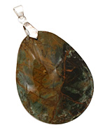 African Green Opal Flat Freeform Teardrop w/ Bail Pendant 33-37x43-47mm