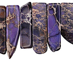 Purple Impression Jasper Flat Freeform Drop 7-15x12-30mm