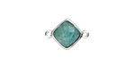 Brazil Amazonite Faceted Diamond Focal Link in Silver Finish Bezel 17x12mm