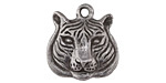Green Girl Pewter Tiger Head 22x23mm