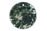 Green Moss Agate Thin Coin Pendant 30mm