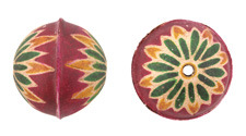 Hand Painted Fuchsia Chrysanthemum Leather Round Bead 26-29mm
