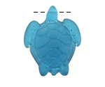 Peacock Blue Recycled Glass Large Sea Turtle Pendant 27x35mm