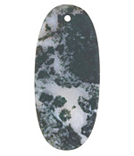 Moss Agate (matte) Thin Sliced Oval Pendant 25x55mm