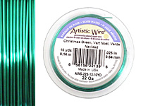 Artistic Wire Silver Plated Christmas Green 22 gauge, 10 yards