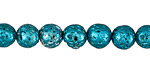 Metallic Teal (plated) Lava Rock Round 8mm