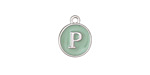 """Sweet Mint Enamel Silver Finish Initial Coin Charm """"P"""" 12x14mm"""