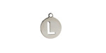 "Stainless Steel Initial Coin Charm ""L"" 10x12mm"