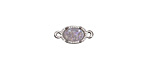Druzy w/ AB Luster Small Oval Bezel Link in Silver Finish 13x6mm
