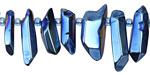 Metallic Sky Blue Luster Quartz Point Drops 3-7x14-29mm