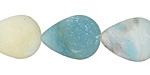 Black Gold Amazonite (matte) Flat Teardrop 20x15mm