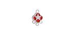 Cherry Red Enamel Stainless Steel Star Chandelier 1-3 Link 11x7mm