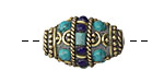 Tibetan Decorative Brass Rice Bead w/ Turquoise & Lapis 23-26x16mm