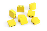 Yellow Enamel 2-Hole Tile Square Bead 8mm