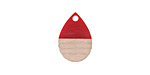 Wood & Cherry Resin Teardrop Focal 11x17mm