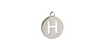 """Stainless Steel Initial Coin Charm """"H"""" 10x12mm"""