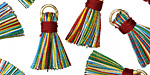 Multi w/ Red Binding & Jump Ring Thread Tassel 17mm