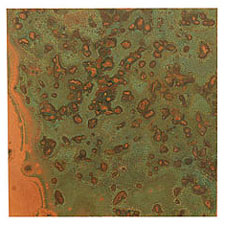 "Lillypilly Verde Patina Copper Sheet 3""x3"", 24 gauge"